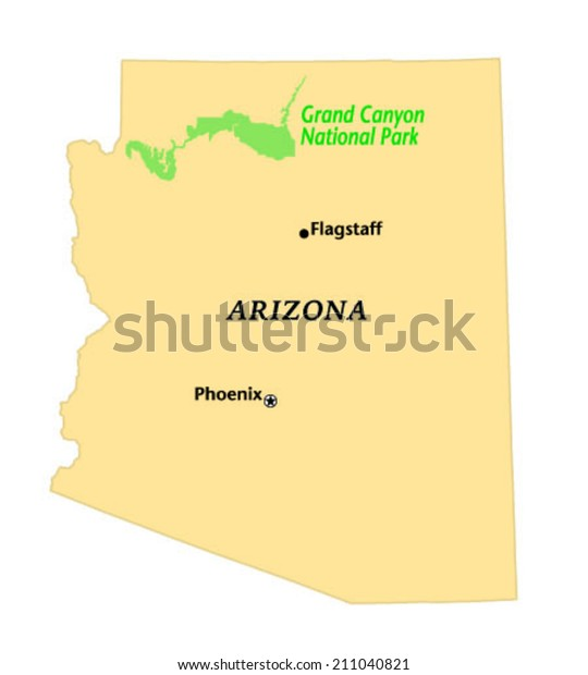 Grand Canyon National Park Locate Map Stock Vector Royalty