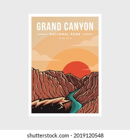 Grand Canyon National Park poster vector illustration