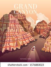 Grand Canyon panorama. Vector illustration of Arizona. Hiking and boating