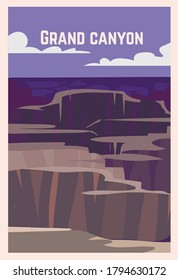 Grand Canyon retro poster.  Grand Canyon landscape vector illustration.