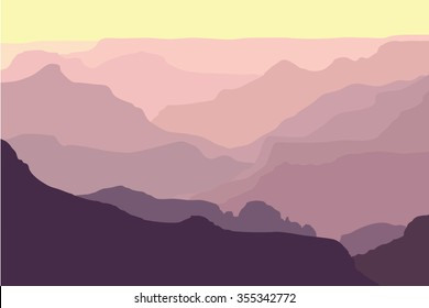 Grand Canyon Silhouettes at Sunrise - Illustration of the ridges of the canyon in the morning.
