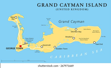 Grand Cayman Island Political Map with capital George Town and important places, the largest of the three Cayman Islands, a British Overseas Territory in the western Caribbean Sea. English labeling.