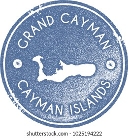 Grand Cayman map vintage light blue stamp. Retro style handmade island label, badge or element for travel souvenirs. Vector illustration.