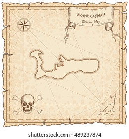 Grand Cayman old pirate map. Sepia engraved parchment template of pirate map with Grand Cayman outline. Vector stylized pirate map on vintage paper.