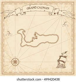 Grand Cayman old treasure map. Sepia engraved template of treasure island map parchment. Vector stylized manuscript of treasure island of Grand Cayman on vintage paper.