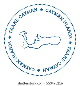 Grand Cayman vector map sticker. Hipster and retro style badge with Grand Cayman map. Minimalistic insignia with round dots border. Island map vector illustration.