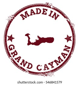 Grand Cayman vector seal. Vintage island map stamp. Grunge rubber stamp with Made in Grand Cayman text and island map, vector illustration.