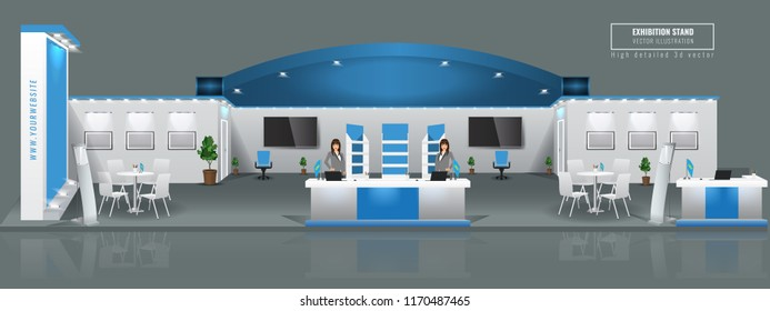 Grand Exhibition stand display mock up. High detailed 3d Vector illustration.