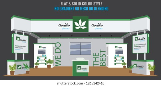 Grand Exhibition stand display mock up for pharmacy or medical company. Vector illustration.