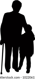grand father and grand son together, silhouette vector