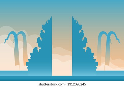Grand gate of Bali Hindu temple vector illustration. Suitable for background.