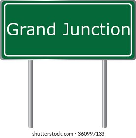 Grand Junction , Colorado , road sign green vector illustration, road table, USA city