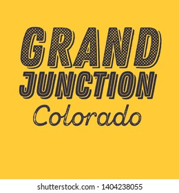 Grand Junction, Colorado t-shirt printing design, typography, vector graphics, illustration, badge applique label.