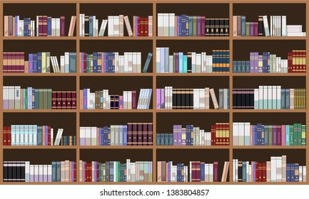 Grand Library book shelf. Flat color Vector illustration.