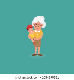 Grand mother with child. Flat style design