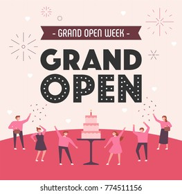 grand open party people character and poster concept vector illustration flat design