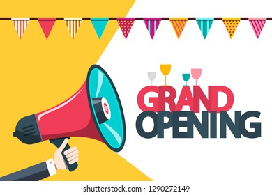 Grand Opening Announcement Card with Megaphone and Party Flags