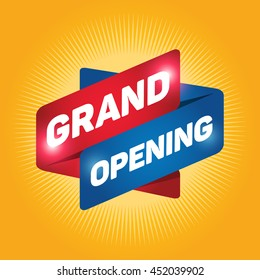 GRAND OPENING arrow tag sign icon. Yellow background.