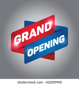 GRAND OPENING arrow tag sign icon. Gray background.