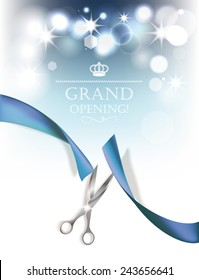 Grand opening background with blue ribbon and silver scissors