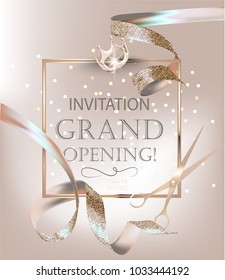 Grand opening banner with beige curly sparkling ribbons. Vector illustration