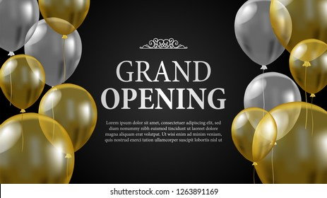 Grand Opening banner card invitation  celebration template with golden and silver transparent flying helium balloon. Vector illustration. Classic elegant luxury with flourish vintage style.