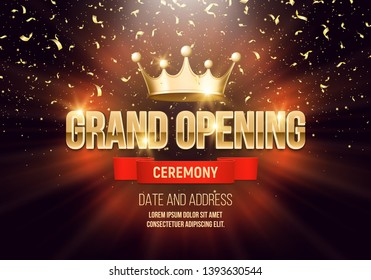 Grand opening banner with crown and falling gold confetti. Ceremony presentation. Vector illustration.