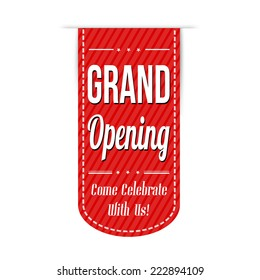 Grand opening banner design over a white background, vector illustration
