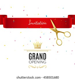 Grand Opening banner design template with ribbon and scissors. Start-up open ceremony business decoration