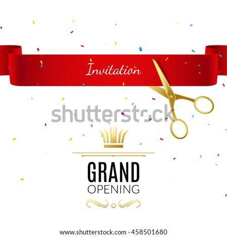 Grand Opening Banner Design Template Ribbon Stock Vector Royalty
