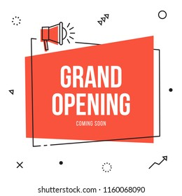 Grand opening banner flyer template with megaphone; event, store, sale vector thin line style announcement. Marketing business concept with bullhorn. Grand Opening advertising  poster. Celebration now