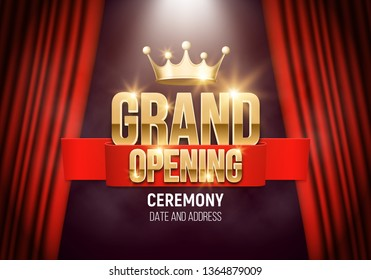 Grand opening. Banner with gold crown and red curtain illuminated by spotlights. Ceremony presentation. Vector illustration.