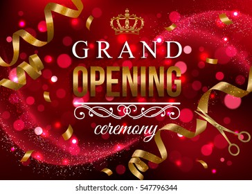 Grand Opening banner with gold ribbon and scissors. Vector illustration.