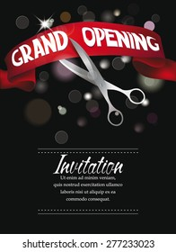Grand opening banner with gold scissors and red silk ribbon