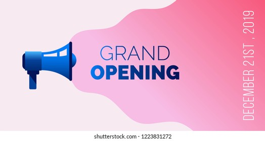 Grand opening banner with megaphone.  Vector illustration.