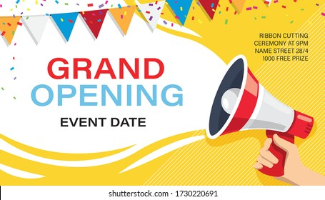 Grand opening banner template. Advertising design for social network vector illustration. Template for retail promotion and announcement. Online shopping and marketing flyer with megaphone in hand