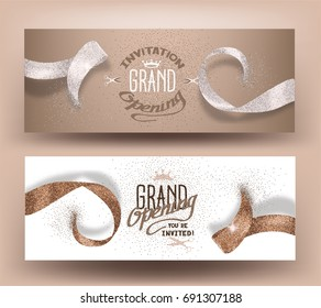Grand opening banners with abstract beige ribbons. Vector illustration