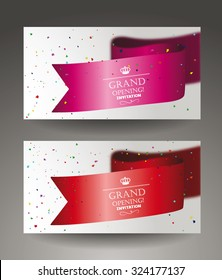 Grand opening banners with confetti and sikl ribbon