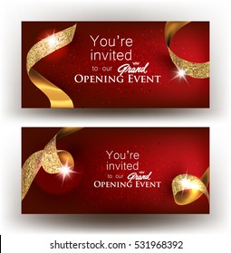 Grand opening banners with gold ribbons. Vector illustration