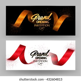 Grand opening banners with gold sparkling ribbons. Vector illustration