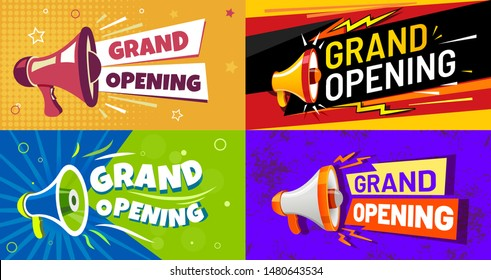 Grand opening banners. Invitation card with megaphone speaker, opened event and opening celebration advertising flyer. Premium invitations to store open ceremony, announcement card vector set
