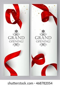 Grand opening banners with realistic red silk ribbon and gold confetti. Vector illustration