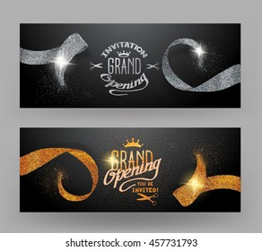Grand opening banners with sparkling gold and silver ribbons
