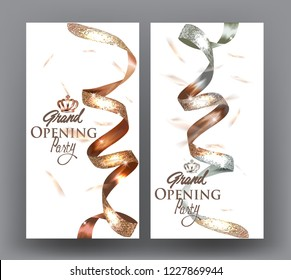 Grand opening banners with two colored elegant sparkling ribbons. Vector illustration