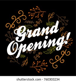 Grand Opening, Beautiful greeting card poster with calligraphy text