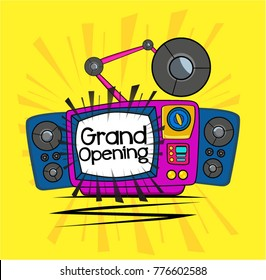 Grand Opening, Beautiful greeting card poster with vintage and comic or cartoon style
