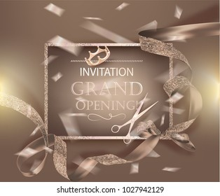 Grand opening beige banner with curly ribbon with circle pattern and confetti. Vector illustration