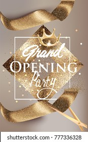 Grand opening beige banner with gold sparkling ribbon and vintage frame. Vector illustration