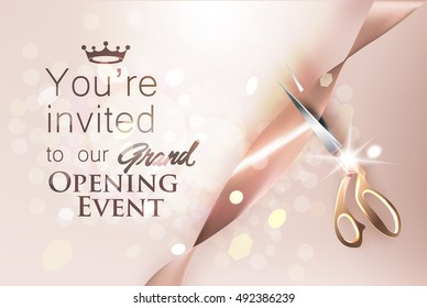 Grand opening beige invitation card with satin ribbon and scissors. Vector illustration