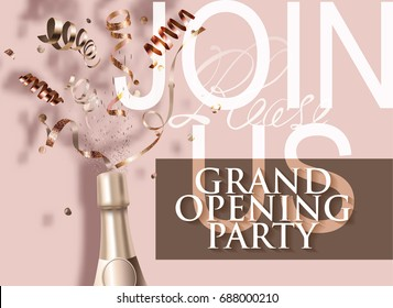 Grand opening beige invitation card with bottle of champagne and serpentine. Vector illustration